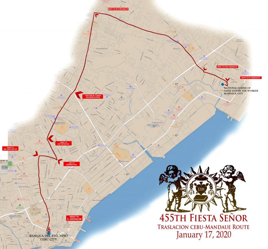 與聖母瑪麗同行,宿霧市至曼達威聖約翰國家紀念碑遊行路線圖