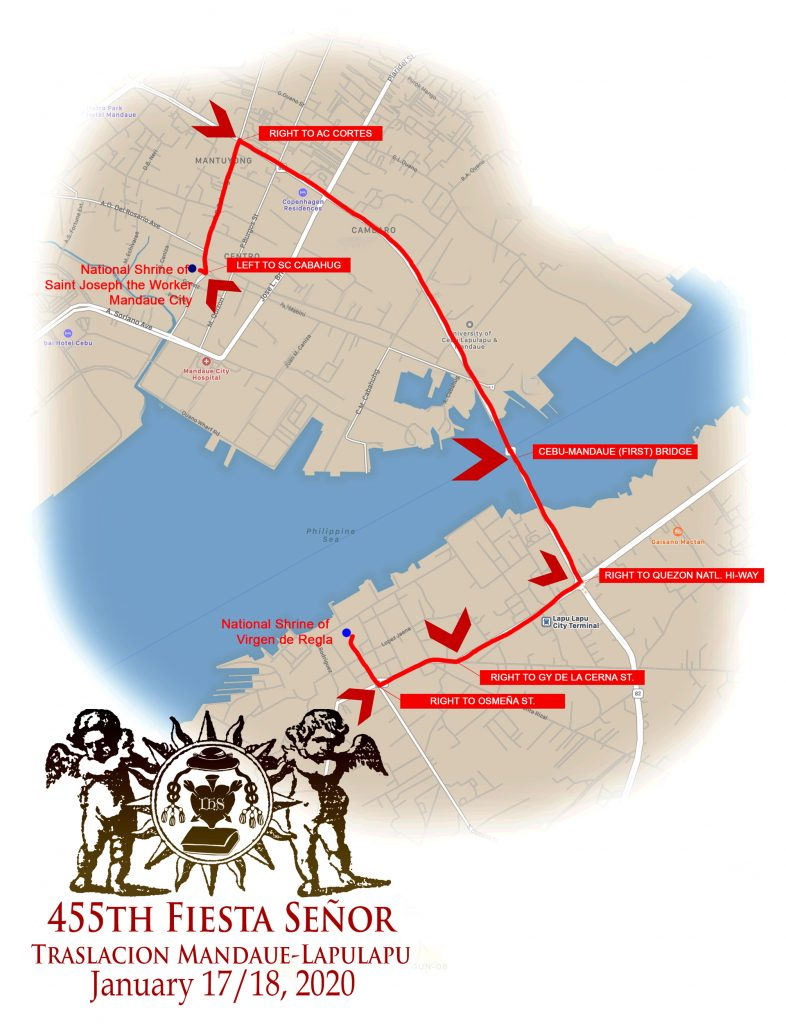 聖嬰的神奇影像流光遊行(拉普拉普海軍基地至壹號碼頭)遊行路線圖