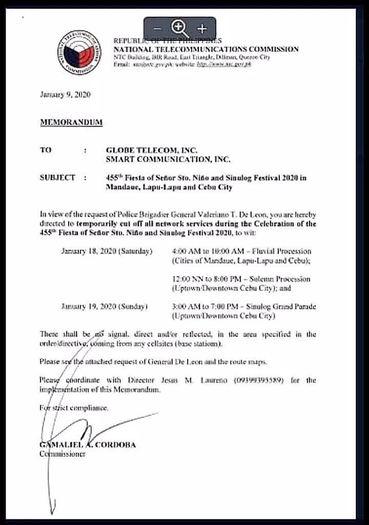 由菲律賓國家電信局發出的手機電訊/網路斷網公文