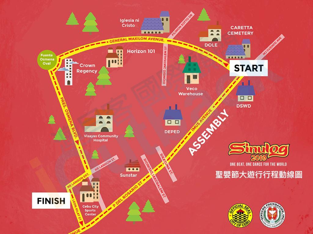 2019 Sinulog大遊行路線圖